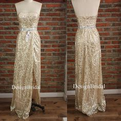 95237c5a4a84 Strapless Gold Cocktail Dresses,Sexy Sequin Long Dress,Party Dresses with  High Side Slits