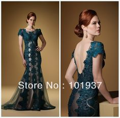Aliexpress.com : Buy Free Shipping Green Evening Mother Dresses Scoop Applique Open Back Crystal Beading Short Sleeves Prom Dress 1501 from Reliable sleeve prom dress suppliers on Suzhou BabyonlineDress Co. , Ltd  $199.00