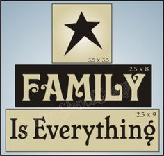 T52 Stencil Trio Family is Everything Primitive Star Blocks