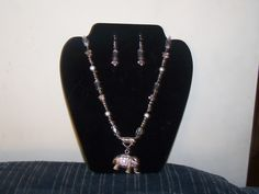 Silver and crystal elephant necklace and earring set