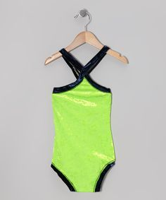 Neon Green Velvet Little Duchess Leotard - Toddler & Girls   Daily deals for moms, babies and kids