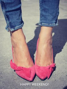 Hot pink shoes & jeans