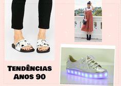 Você usaria as tendências dos anos 90? Veja as principais tendências da moda dos anos 90, como o slider, o tênis com LED e as alcinhas finas com camisetas, que farão sucesso na primavera/verão.
