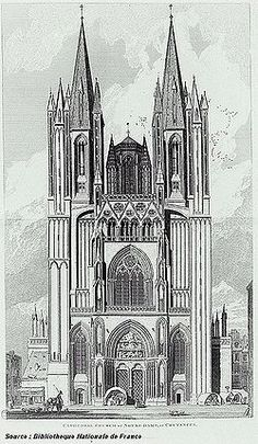 Coutances Cathedral | western elevation... originally a Romanesque structure, it was destroyed by fire and rebuilt as a Gothic cathedral in the 1200's...
