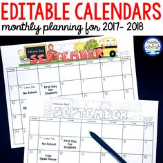 Homework calendars, reading logs, behavior charts, and snack schedules made easy with editable monthly calendars for your Preschool, Pre-K or Kindergarten classroom.