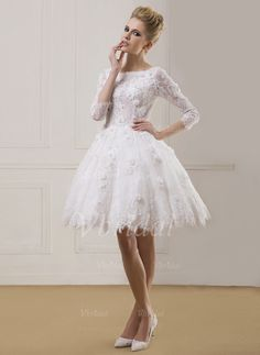 Wedding Dresses - $151.62 - Ball-Gown Scoop Neck Knee-Length Lace Wedding Dress With Beading Flower(s) (0025059574)