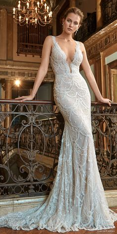 galia lahav fall 2017 bridal sleeveless strap deep plunging v neck full embroidered elegant sexy sheath wedding dress low back chapel train (harper) mv