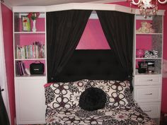 Girls room redo- DIY Headboard/Bookcase wall on a budget- check out what was used on seemommasave.com