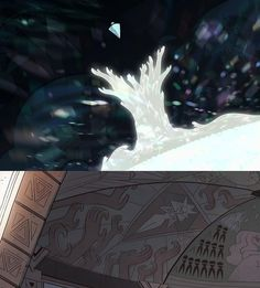 """THE PROPHECY, Steven Universe--I thought that was White Diamond, and I still kinda do, but I have to admit this kind of matches and also """"White Diamond"""" kind of also looks like Peridot?"""