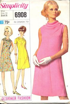 Vintage 1960's Womens Dress Pattern, Simplicity 6908 Sewing Pattern, Size 10
