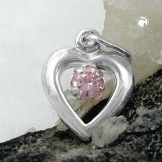 Anhänger, Herz Zirkonia-pink, Silber 925 Legierung: 925/000 Silber, Sterling Silver, nickelfrei