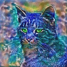 Artificial neural style Blue cat avatar
