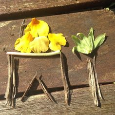Little temporary art  from nature. Such a sweet thing to do and a really calming relaxing exercise in appreciating nature for kids. Nature crafts rock and they can be blown away by the breeze