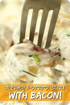 This Creamy Potato Salad is made with Baby Potatoes and loaded with Bacon, Chives and Hard Boiled Egg. Potato Salads don't come more irresistible than this! Baby Potato Salad My go to potato to use Baby Potato Salad, Creamy Potato Salad, Bacon Bacon, Potato Salad With Bacon, Best Ever Potato Salad, Loaded Potato Salad, Creamy Fruit Salads, Bacon Pasta, Cooking Recipes