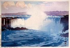 """Niagara Falls"", Hiroshi Yoshida was a Japanese painter and woodblock print maker, noted for his absolutely breathtaking landscape prints. Hiroshi Yoshida, Toledo Museum Of Art, Art Occidental, Art Chinois, Art Asiatique, Art Japonais, Ouvrages D'art, Japanese Painting, Chinese Painting"