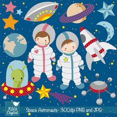 INSTANT DOWNLOAD Space Astronaut Digital Clipart - Scrapbooking , card design, invitations, paper crafts, web design