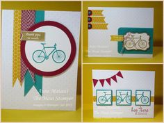 August 2013 bicycle | polka dot background from the July kit and added some Candy Dots with 1/2 inch circles over the flags created with the self-adhesive strips that came in the kit.  They're just like washi!!  3 inch Bigz circle die for the Cherry Cobbler label and a Bermuda Bay paper flag and a Cherry Cobbler Chevron Ribbon flag