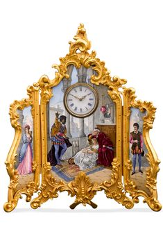 Characters from the famed Shakespearean play Othello are brought to life in this elegant triptych porcelain painting and clock. Othello, the doomed Moor, is depicted addressing his bride Desdemona and her father Brabantio beneath an exquisite enamel clock. Portraits of villain Iago and his wife Emilia flank this center scene ~ 19th Century Clock, Historical Timepieces, Antique Clock, Porcelain Clock, Antique Mantel Clock ~ M.S. Rau Antiques