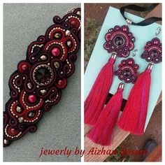 Soutache Jewelry, Selling Jewelry, Shibori, Beaded Embroidery, Brooch, Drop Earrings, Beads, Fashion, Necklaces