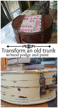 transform an old trunk with mod podge and paint