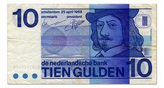 Netherlands Banknotes 10 Gulden Banknote 1968 Frans Hals The Dutch Bank - De Nederlandsche Bank Obverse: Stylised self-portrait . Creative Review, Old Money, Vintage Artwork, Note Paper, Print Magazine, Back In The Day, Ephemera, Childhood Memories, Blockchain