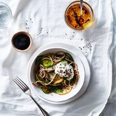 Dawn Perry's Soba Salad with Cucumbers, Soft Tofu & Quick Chile Oil recipe on Food52