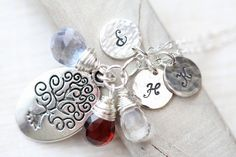 Mothers Necklace, Family Tree Necklace, Hand Stamped Necklace, Personalized Necklace with Three Initials, 3 Gemstones,  Wire Wrapped. $68.00, via Etsy.