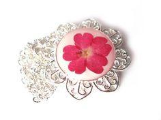 Pressed flower jewelry  Real Pink Pressed Verbena by ScrappinCop, $7.50