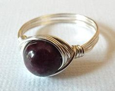 Tourmaline Ring Wire Wrapped Ring Purple Stone by PepperandPomme