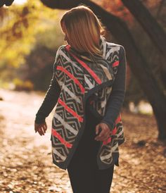 Machu Ethnic Pattern Waterfall Open Cardigan - Mistic Prysm