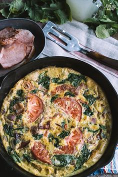 When serving breakfast to a crowd any frittata will do. Make that a spinach and tomato frittata, and you better bake two. Paleo Frittata, Frittata Recipes, Egg Recipes, Paleo Recipes, Real Food Recipes, Paleo Meals, Detox Recipes, Paleo Breakfast, Breakfast Recipes