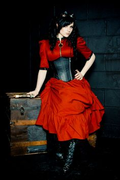 Steampunk Blouse Victorian High Neck Exposed Zipper-Custom Color and Size