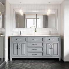Studio Bathe Thomson 72 in. Vanity with Power Bar Available in: White or Oxford grey Cultured marble countertop with matching backsplash Blum Blu-Motion® soft-closing drawer glides Soft-closing cabinet doors cUL and cETL Certified Master Bathroom Vanity, Double Sink Bathroom, Grey Bathroom Cabinets, Gray Bathrooms, Boho Bathroom, Bathroom Layout, Bathroom Vanity Designs, Gray Vanity, Master Bathrooms