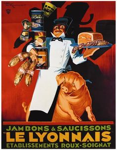 Saucisson Le Lyonnais by Henry Le Monnier Vintage Poster Fine Art Giclee Print