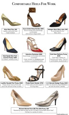 10 Comfortable Heels For Work. Learn how to buy heels that won't hurt your feet while you're working all day. | TheGinaMiller.com
