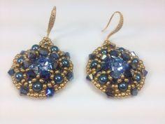 Aqua blue crystal eye beaded fancy earring by createdbycarla