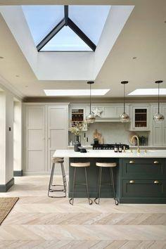 Kitchen Room Design, Home Decor Kitchen, Interior Design Kitchen, Home Kitchens, Kitchen Ideas, Open Plan Kitchen Dining Living, Open Plan Kitchen Diner, Living Room Kitchen, House Extension Plans