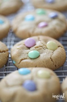 Soft Peanut Butter Cookies for Spring and Easter - peanut butter and chocolate cookie dessert recipe Soft Peanut Butter Cookies, Chocolate Chip Shortbread Cookies, Toffee Cookies, Peanut Butter Desserts, Baking Recipes, Cookie Recipes, Dessert Recipes, Cookie Ideas, Homemade Cookies