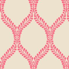 leaves_Coral_Ikat fabric by tullia on Spoonflower (also blue and gold colorways)