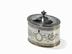 Viktorianische Silber Teedose mit Schloss, London, 1863 Sterlingsilber, gegossen, graviertLondon, En