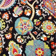 Ladbroke/Har Licorice Paisley and Floral Print Fabric;