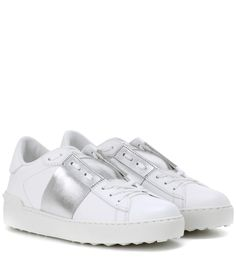 VALENTINO Open Metallic Leather Sneakers. #valentino #shoes #sneakers