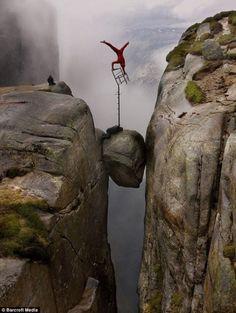 The Art of Balance, extreme balancing artist Eskil Rønningsbakken on Kjeragbolten in Norway.