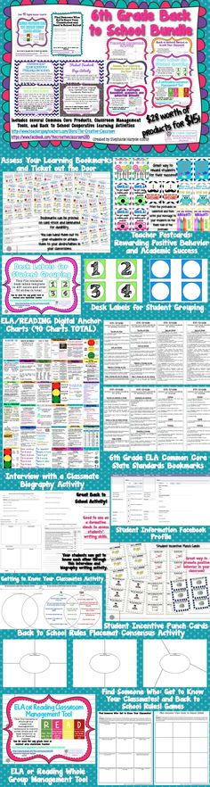 6th Grade ELA Back to School Bundle-Twelve Products for $15