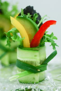 These Cucumber Salad Bites are a decorative way to eat your salad, garnish a plate or serve as a healthy  appetizer.
