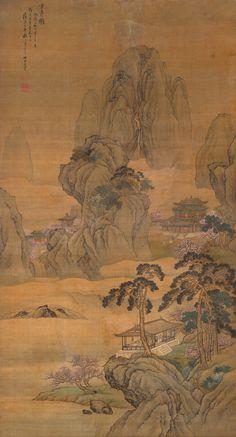 Wang Yun(王云) ,  清 王云. 王云是清康熙时期的著名画家,字汉藻,号青痴,又号竹里,江苏高邮人。他是王翚、杨晋等人的好朋友,擅作山水、界画、阁楼、人物、花鸟等,所作构图精微,设色妍丽,自然传神,他的多幅作品被故宫博物院收藏,比如作于康熙四十七年(1708)的《寒林鸦阵图》,康熙五十八年(1719)的《仿刘松年碧峰僊馆图》等。