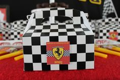 Ferrari Birthday Party Ideas: Checkered Flag Favor Boxes The post Ferrari Birthday Party Ideas: Checkered Flag Favor Boxes appeared first on ferrari. Birthday Favors, 10th Birthday, 1st Birthday Parties, Hot Wheels Birthday, Hot Wheels Party, Ferrari Party, Baptism Themes, Race Car Party, Checkered Flag