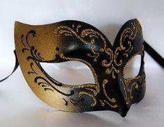 man mask gold black masquerade mask, venetian mask, paper mache mask halloween mask on Etsy, £18.52