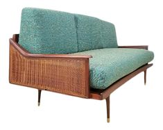 1960s Mid Century Milo Baughman Style Sofa on Chairish.com Milo Baughman, Hairpin, Mid Century Design, Olive Green, Fabric Design, Wicker, 1960s, Teal, Stripes