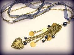 Locket and Charms with Blue Ribbon   byBrendaElaine - Jewelry on ArtFire